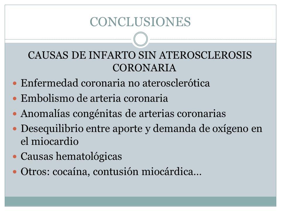 CAUSAS DE INFARTO SIN ATEROSCLEROSIS CORONARIA
