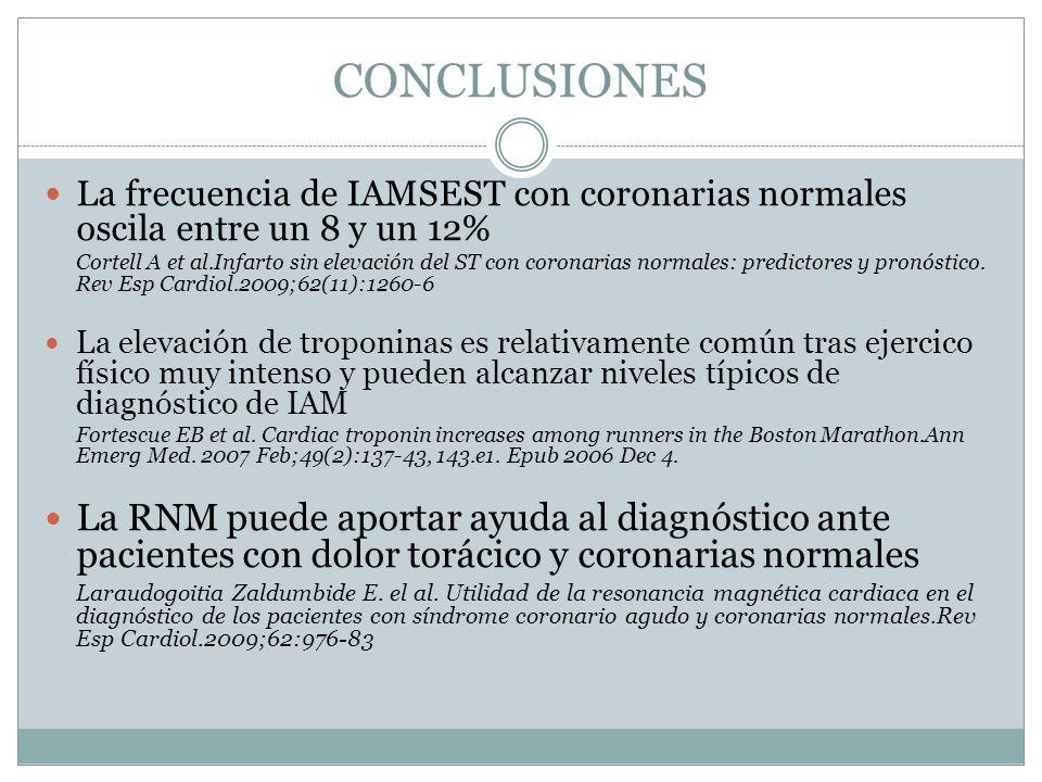 CONCLUSIONESLa frecuencia de IAMSEST con coronarias normales oscila entre un 8 y un 12%