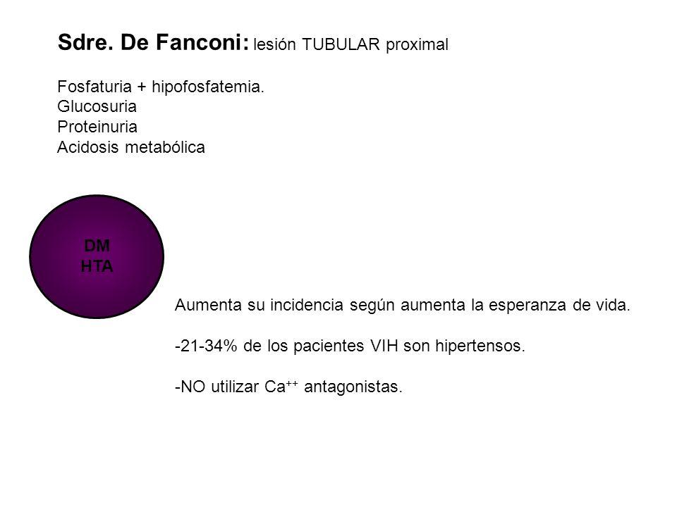 Sdre. De Fanconi: lesión TUBULAR proximal