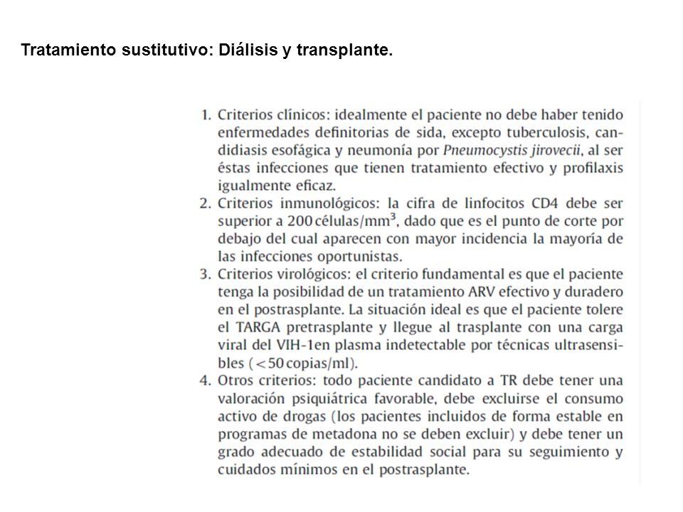 Tratamiento sustitutivo: Diálisis y transplante.