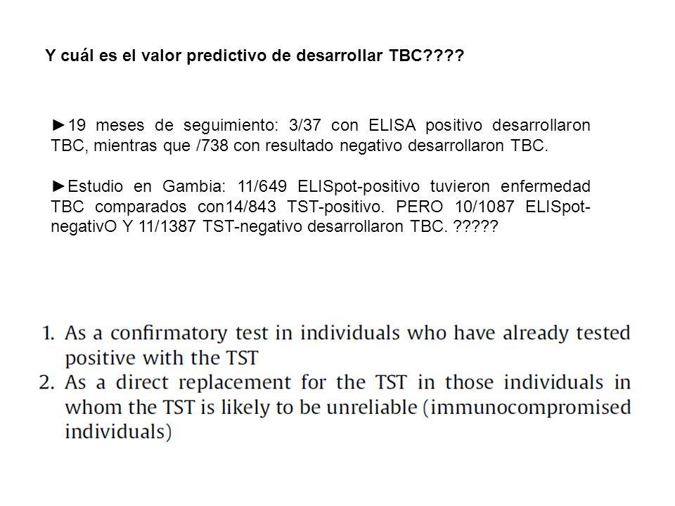 Y cuál es el valor predictivo de desarrollar TBC