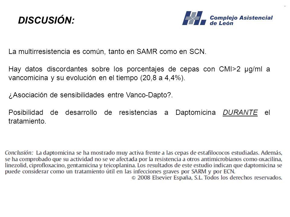DISCUSIÓN: La multirresistencia es común, tanto en SAMR como en SCN.