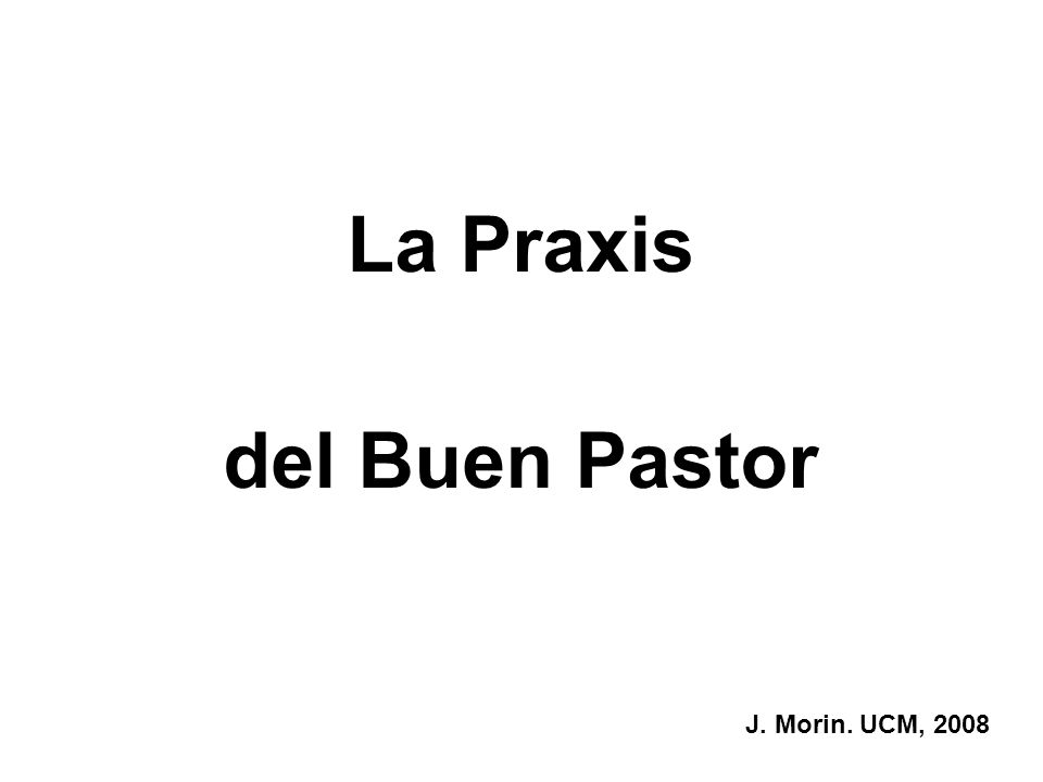 La Praxis del Buen Pastor