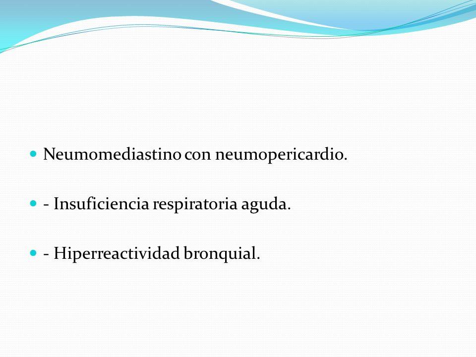 Neumomediastino con neumopericardio.