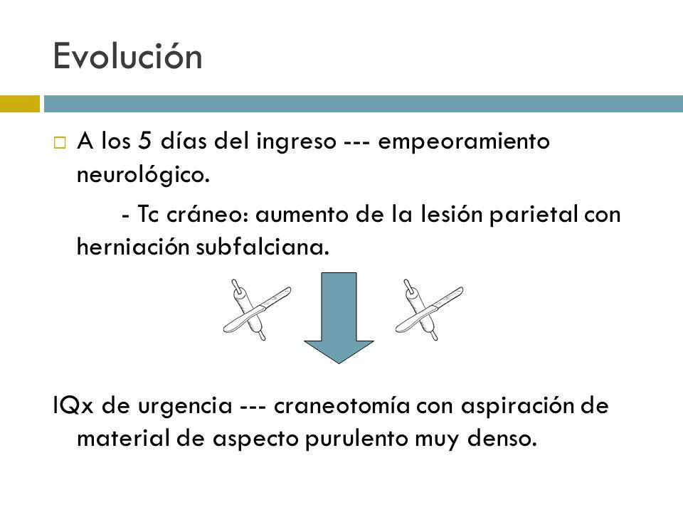 Evolución A los 5 días del ingreso --- empeoramiento neurológico.
