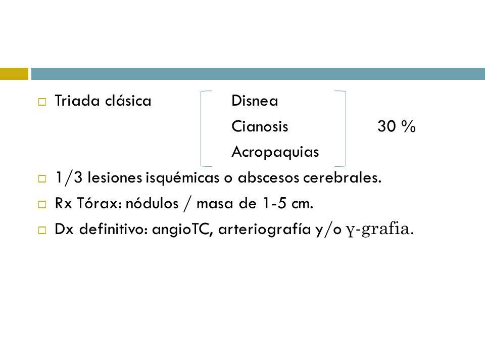 Triada clásica DisneaCianosis 30 % Acropaquias. 1/3 lesiones isquémicas o abscesos cerebrales. Rx Tórax: nódulos / masa de 1-5 cm.