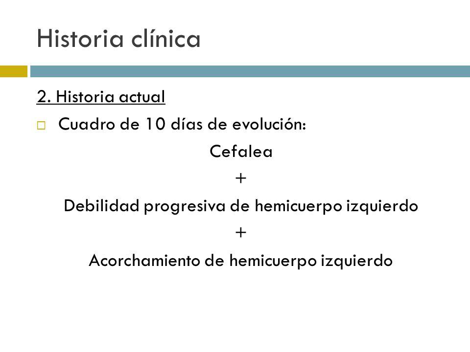 Historia clínica 2. Historia actual Cuadro de 10 días de evolución: