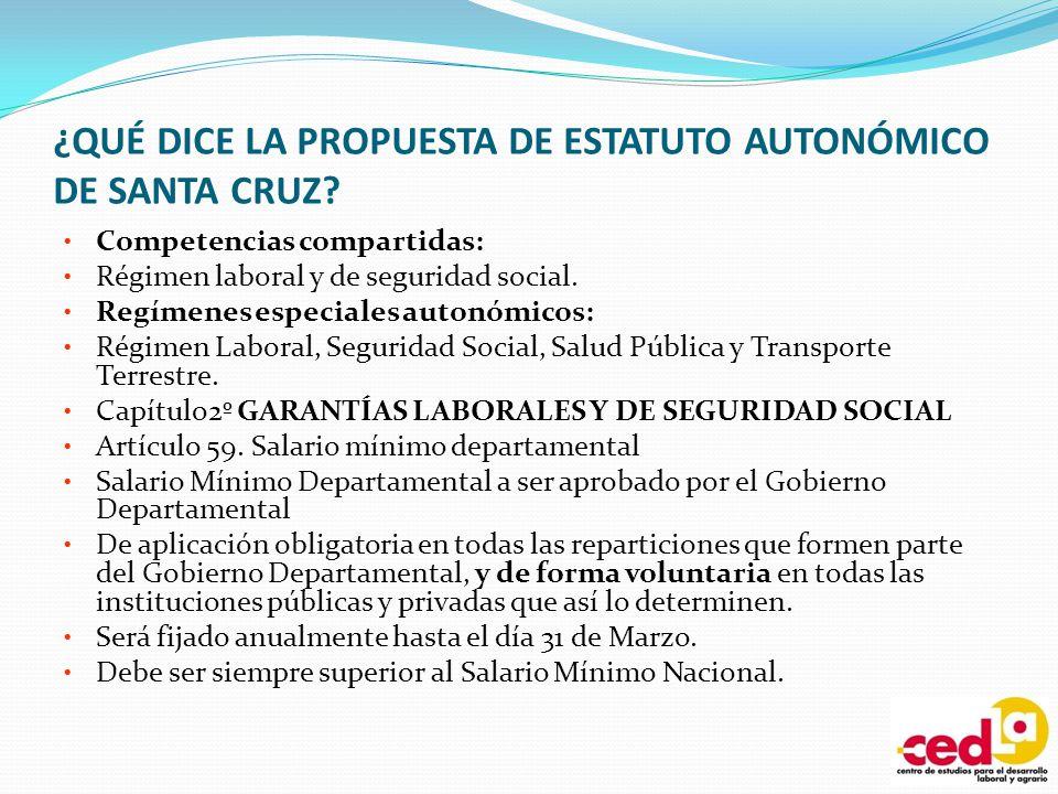 ¿QUÉ DICE LA PROPUESTA DE ESTATUTO AUTONÓMICO DE SANTA CRUZ