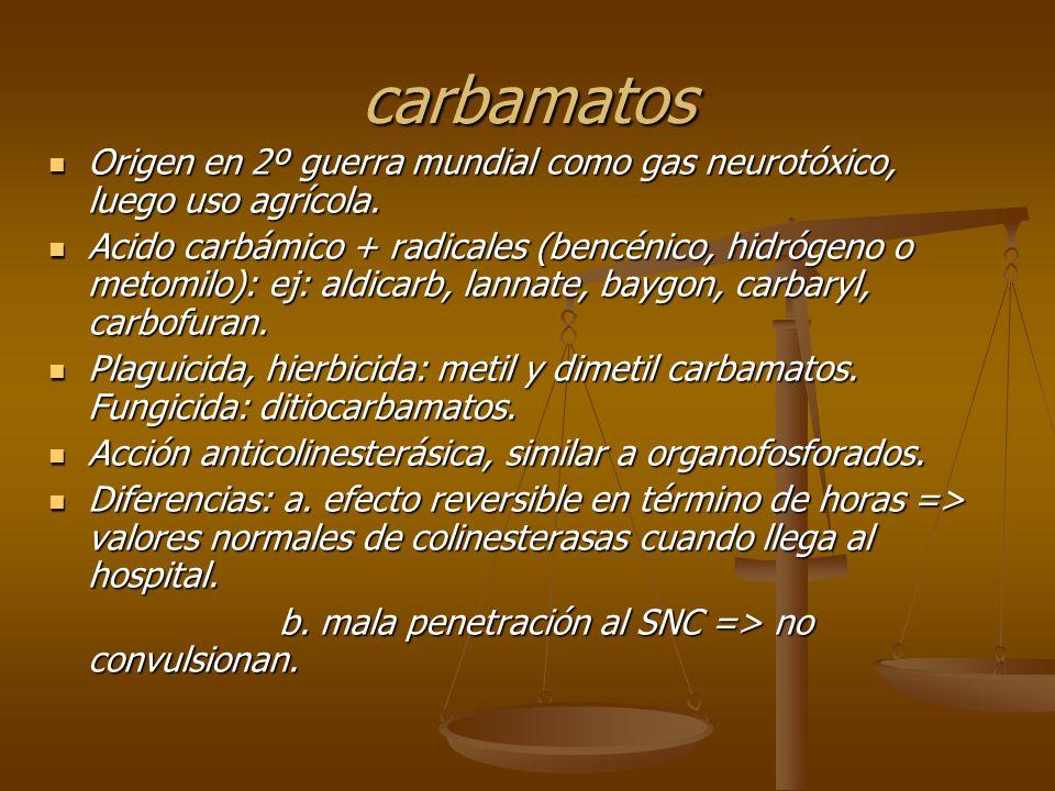 carbamatos Origen en 2º guerra mundial como gas neurotóxico, luego uso agrícola.