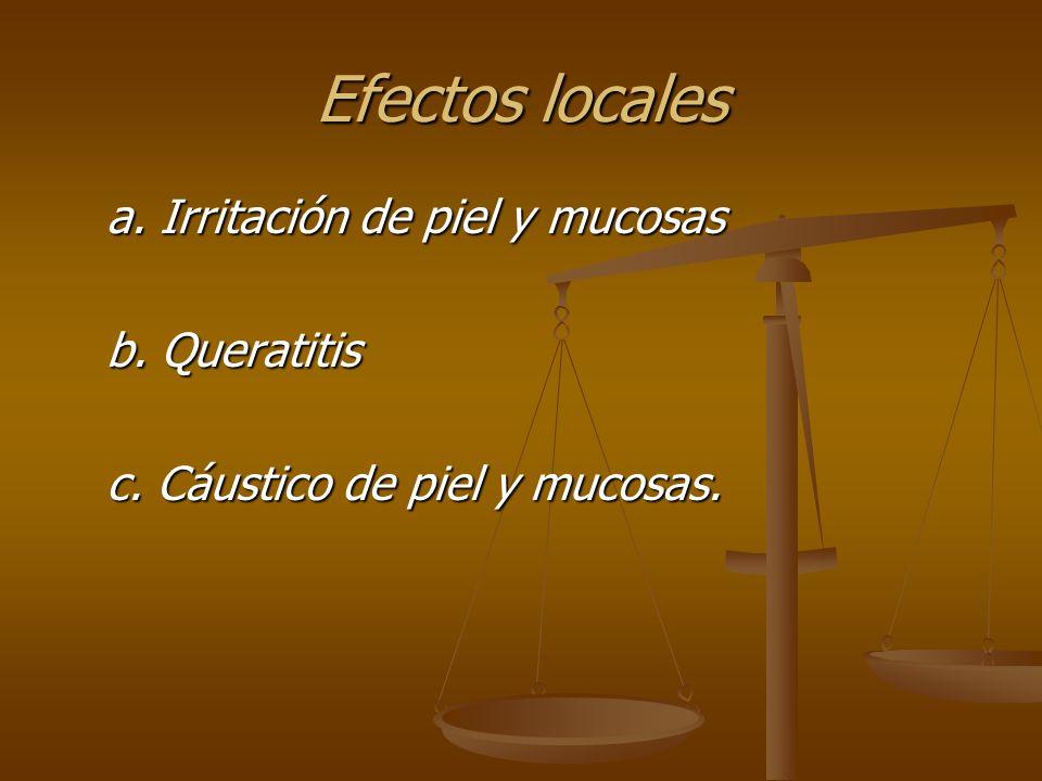 Efectos locales a. Irritación de piel y mucosas b. Queratitis