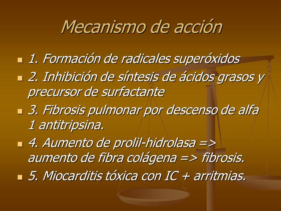 Mecanismo de acción 1. Formación de radicales superóxidos