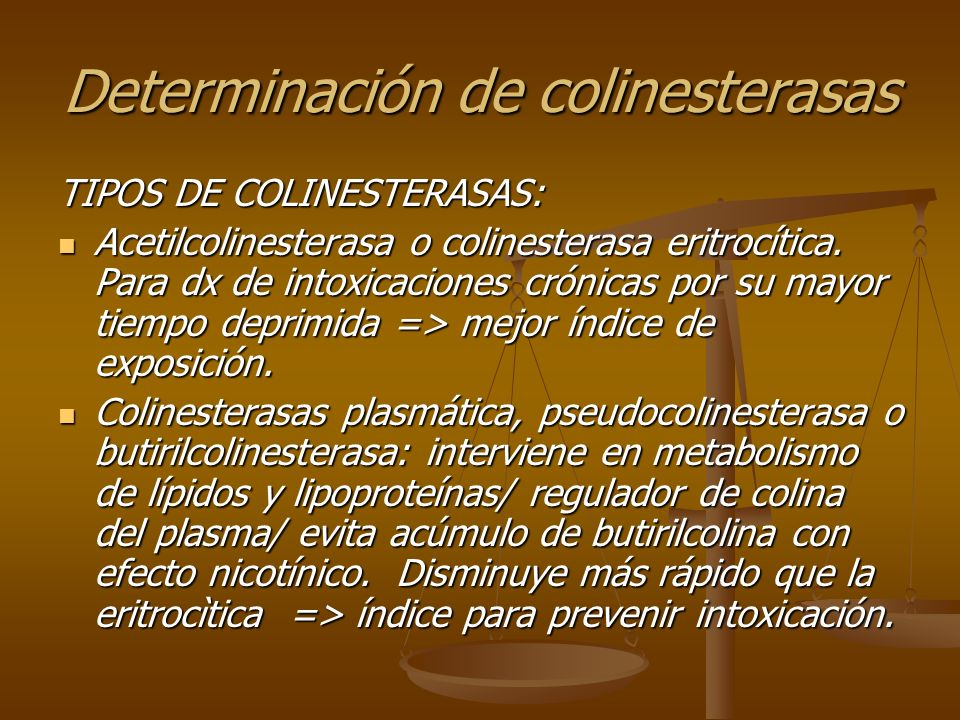 Determinación de colinesterasas