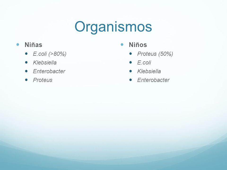 Organismos Niñas Niños E.coli (>80%) Klebsiella Enterobacter