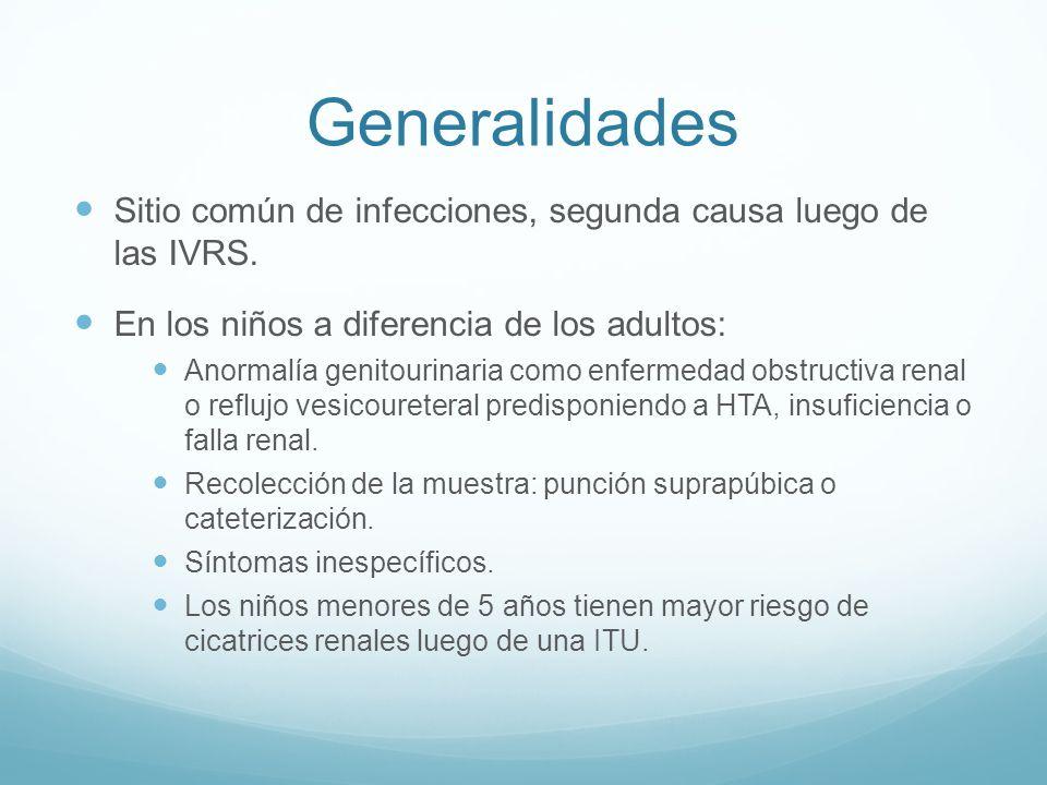 Generalidades Sitio común de infecciones, segunda causa luego de las IVRS. En los niños a diferencia de los adultos: