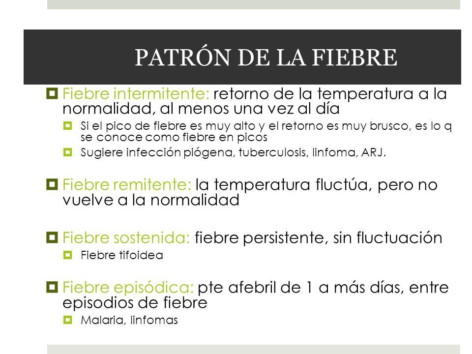 PATRÓN DE LA FIEBRE Fiebre intermitente: retorno de la temperatura a la normalidad, al menos una vez al día.