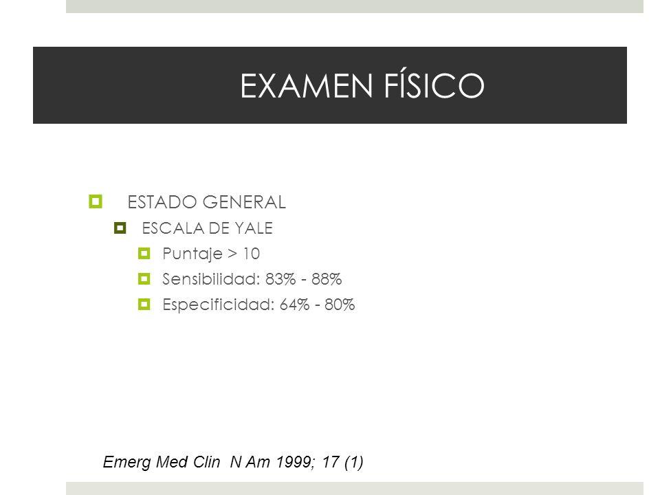 EXAMEN FÍSICO ESTADO GENERAL ESCALA DE YALE Puntaje > 10