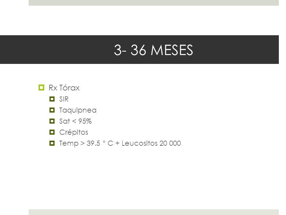 3- 36 MESES Rx Tórax SIR Taquipnea Sat < 95% Crépitos