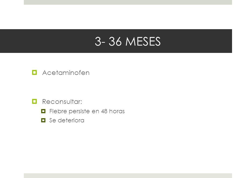 3- 36 MESES Acetaminofen Reconsultar: Fiebre persiste en 48 horas