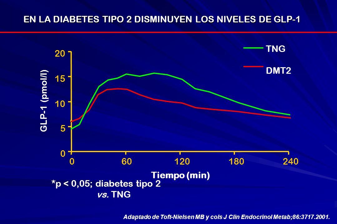 EN LA DIABETES TIPO 2 DISMINUYEN LOS NIVELES DE GLP-1
