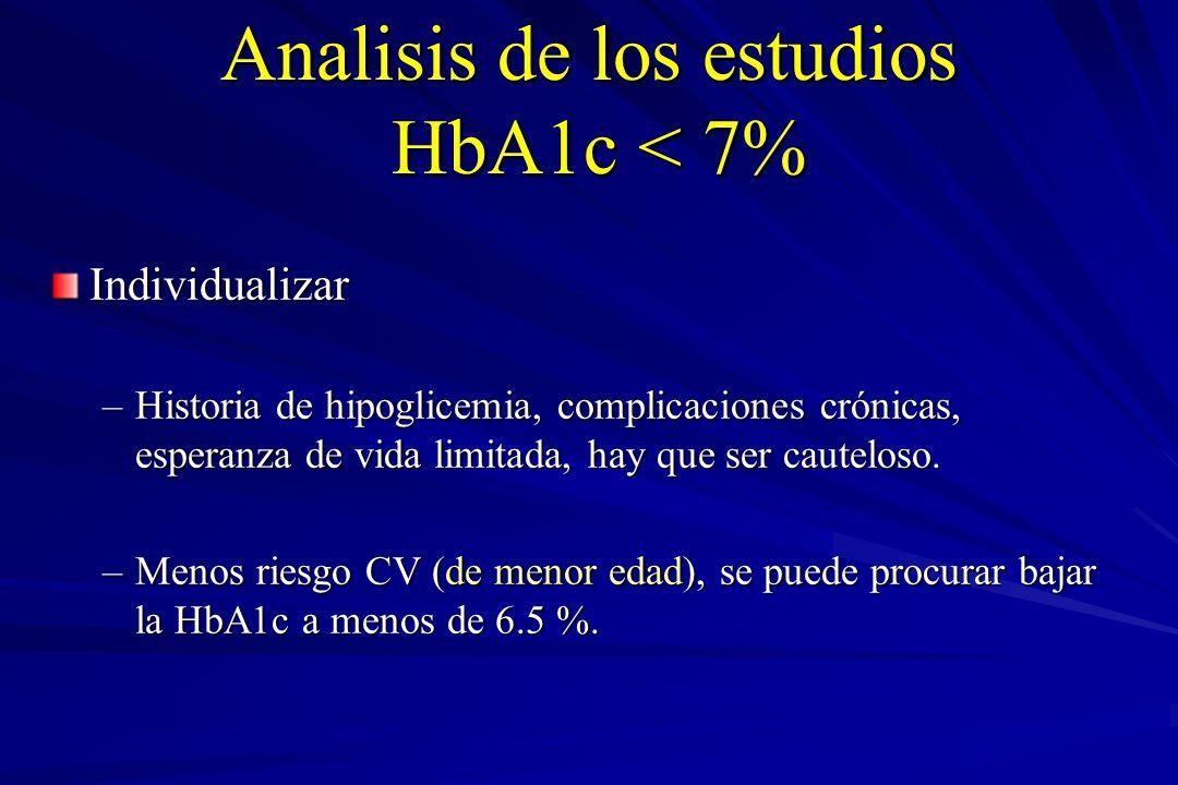 Analisis de los estudios HbA1c < 7%