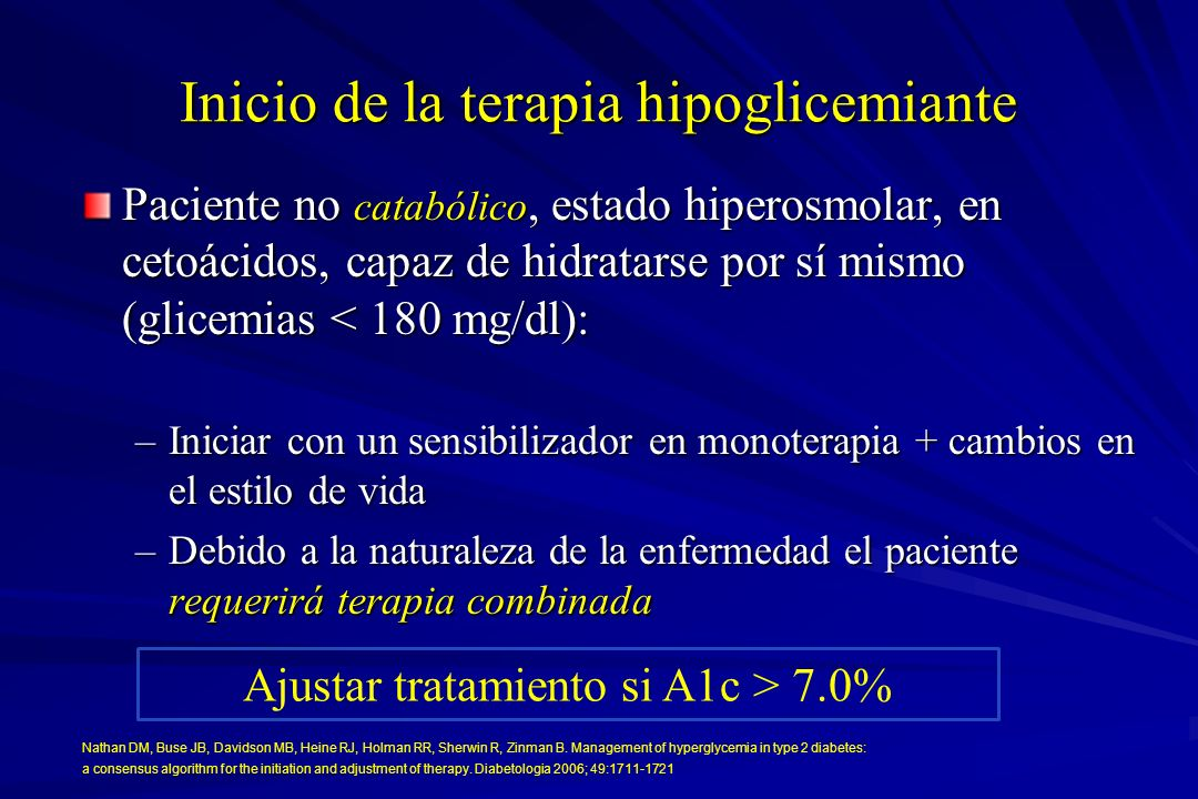 Inicio de la terapia hipoglicemiante