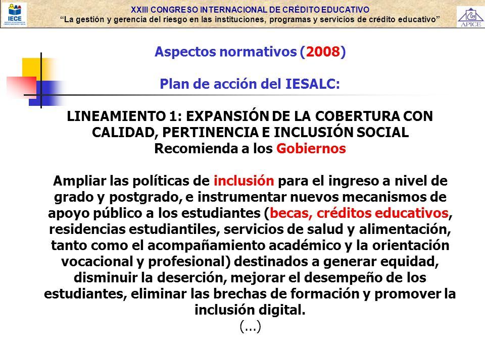 Aspectos normativos (2008) Plan de acción del IESALC: