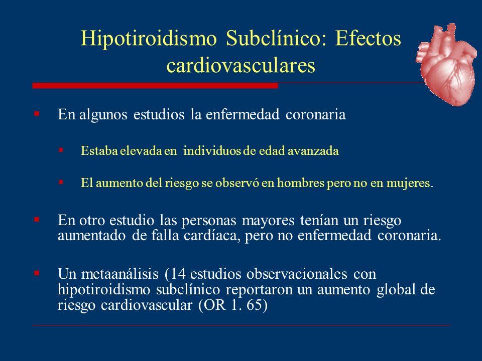 Hipotiroidismo Subclínico: Efectos cardiovasculares