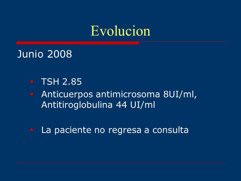 EvolucionJunio 2008.TSH 2.85. Anticuerpos antimicrosoma 8UI/ml, Antitiroglobulina 44 UI/ml.