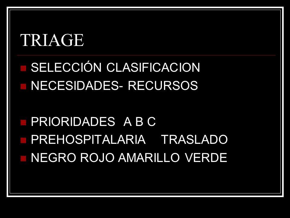 TRIAGE SELECCIÓN CLASIFICACION NECESIDADES- RECURSOS PRIORIDADES A B C