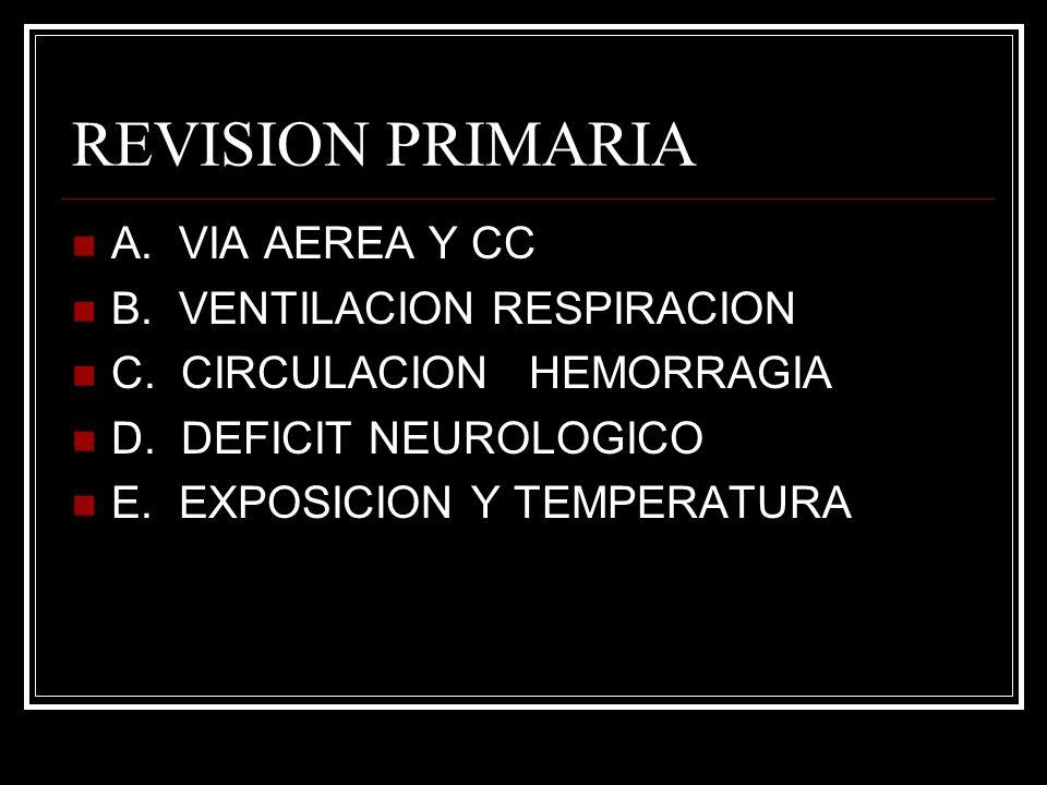 REVISION PRIMARIA A. VIA AEREA Y CC B. VENTILACION RESPIRACION