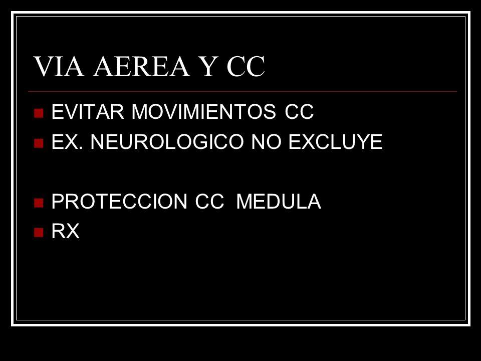 VIA AEREA Y CC EVITAR MOVIMIENTOS CC EX. NEUROLOGICO NO EXCLUYE