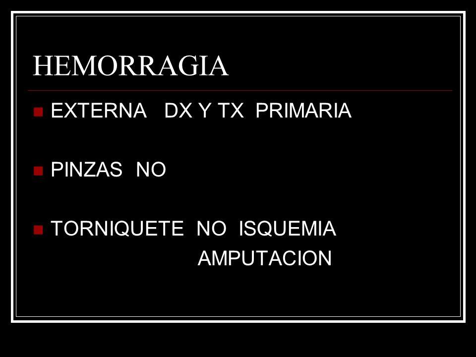 HEMORRAGIA EXTERNA DX Y TX PRIMARIA PINZAS NO TORNIQUETE NO ISQUEMIA