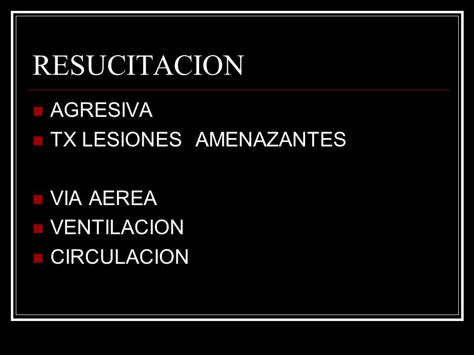 RESUCITACION AGRESIVA TX LESIONES AMENAZANTES VIA AEREA VENTILACION