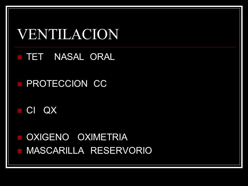 VENTILACION TET NASAL ORAL PROTECCION CC CI QX OXIGENO OXIMETRIA