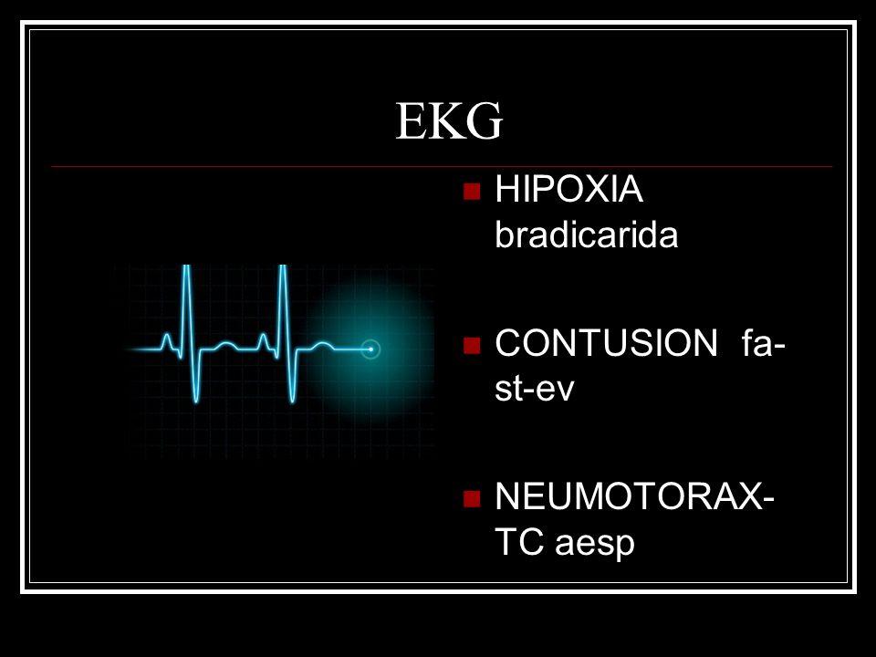 EKG HIPOXIA bradicarida CONTUSION fa-st-ev NEUMOTORAX-TC aesp