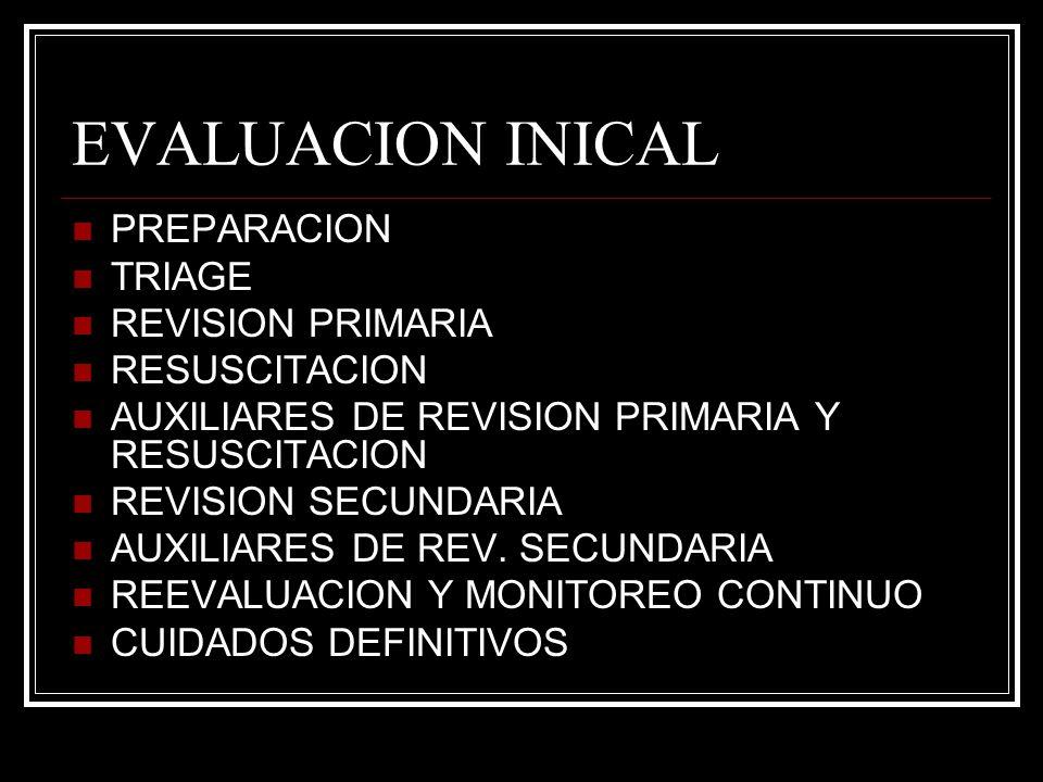 EVALUACION INICAL PREPARACION TRIAGE REVISION PRIMARIA RESUSCITACION