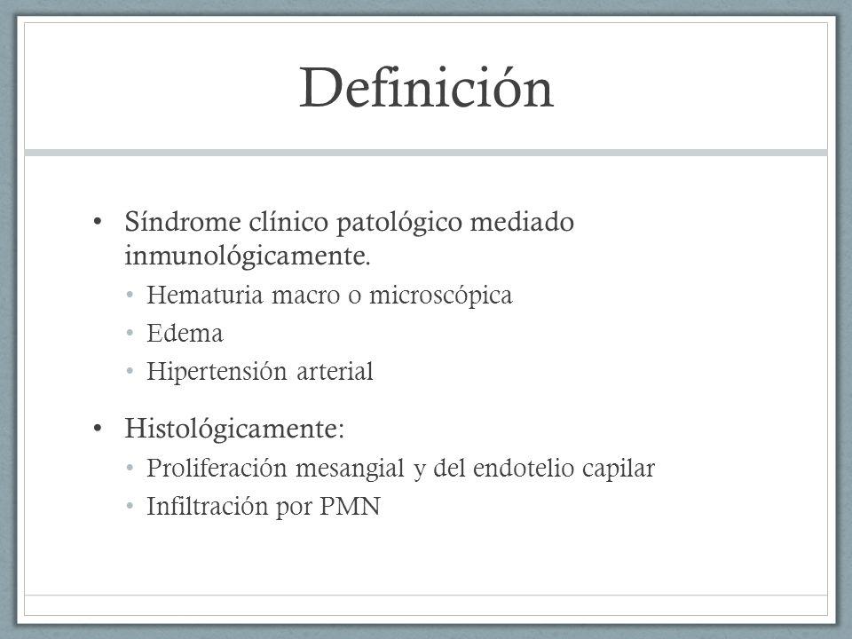 Definición Síndrome clínico patológico mediado inmunológicamente.