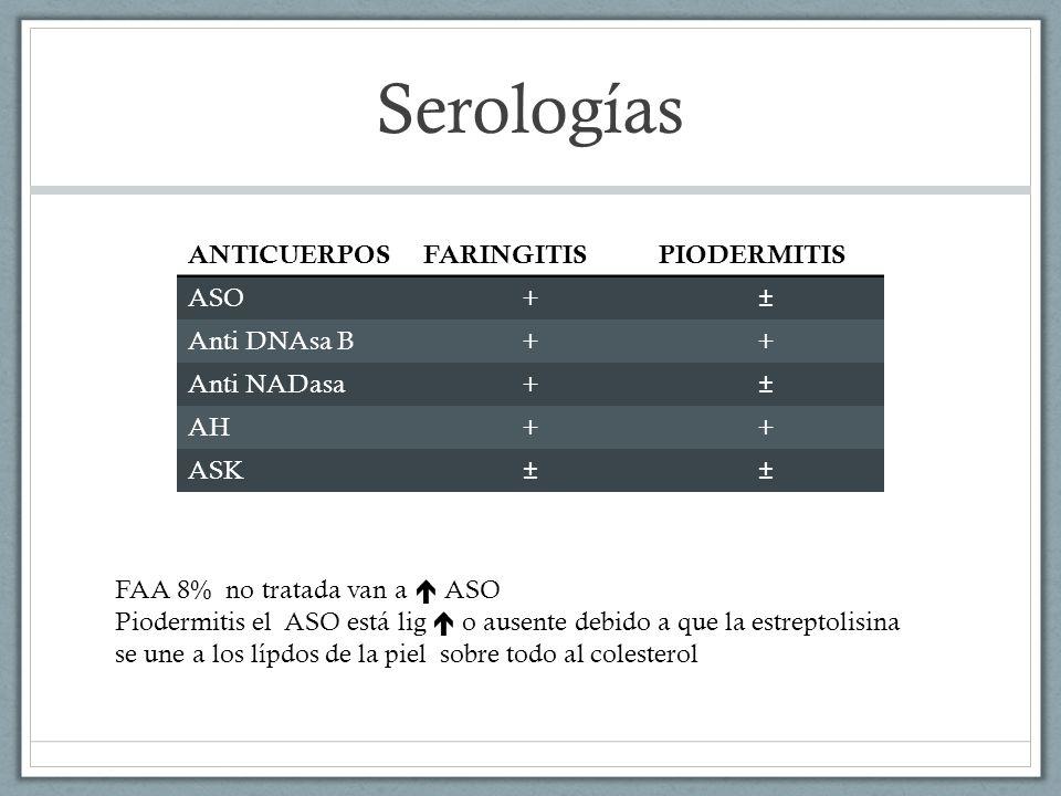 Serologías ANTICUERPOS FARINGITIS PIODERMITIS ASO + ± Anti DNAsa B