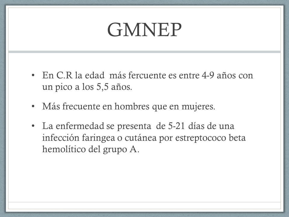 GMNEP En C.R la edad más fercuente es entre 4-9 años con un pico a los 5,5 años. Más frecuente en hombres que en mujeres.