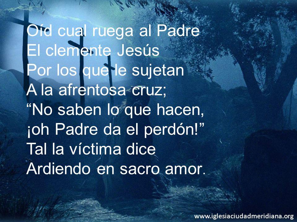 Oíd cual ruega al Padre El clemente Jesús Por los que le sujetan