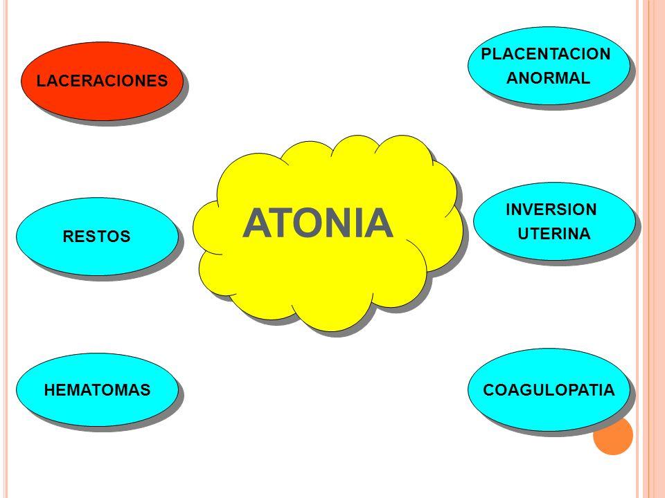 ATONIA PLACENTACION ANORMAL LACERACIONES INVERSION UTERINA RESTOS