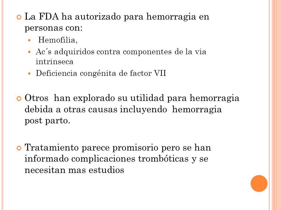 La FDA ha autorizado para hemorragia en personas con: