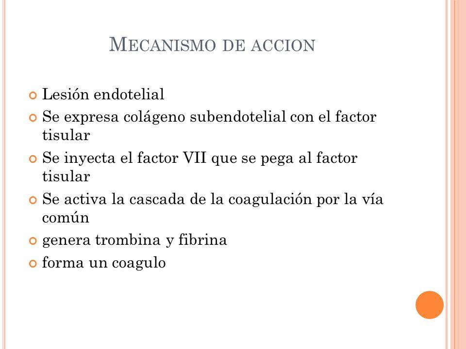Mecanismo de accion Lesión endotelial