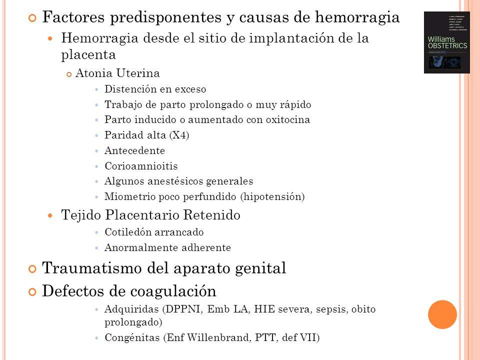 Factores predisponentes y causas de hemorragia