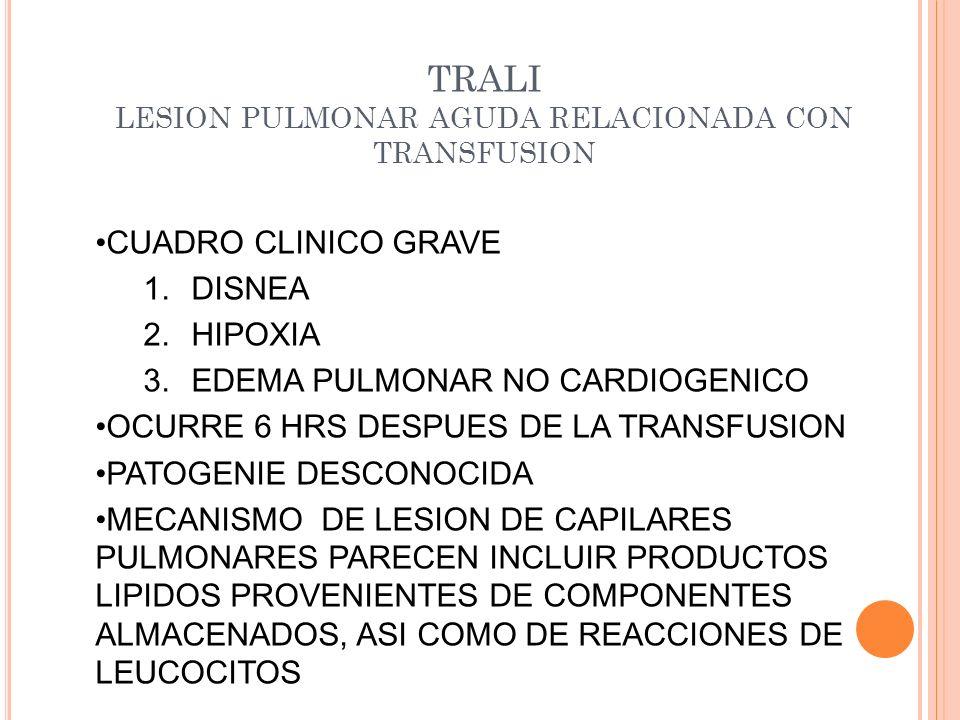 TRALI LESION PULMONAR AGUDA RELACIONADA CON TRANSFUSION