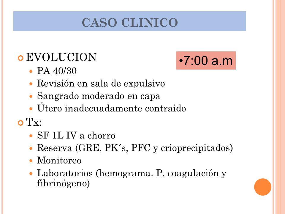 7:00 a.m CASO CLINICO EVOLUCION Tx: PA 40/30
