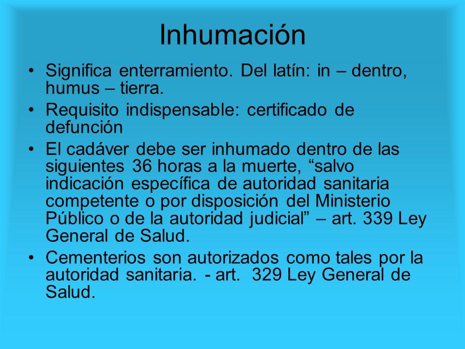 InhumaciónSignifica enterramiento. Del latín: in – dentro, humus – tierra. Requisito indispensable: certificado de defunción.