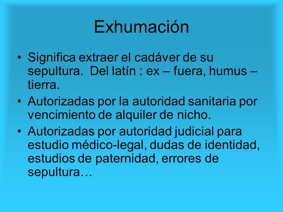 ExhumaciónSignifica extraer el cadáver de su sepultura. Del latín : ex – fuera, humus – tierra.