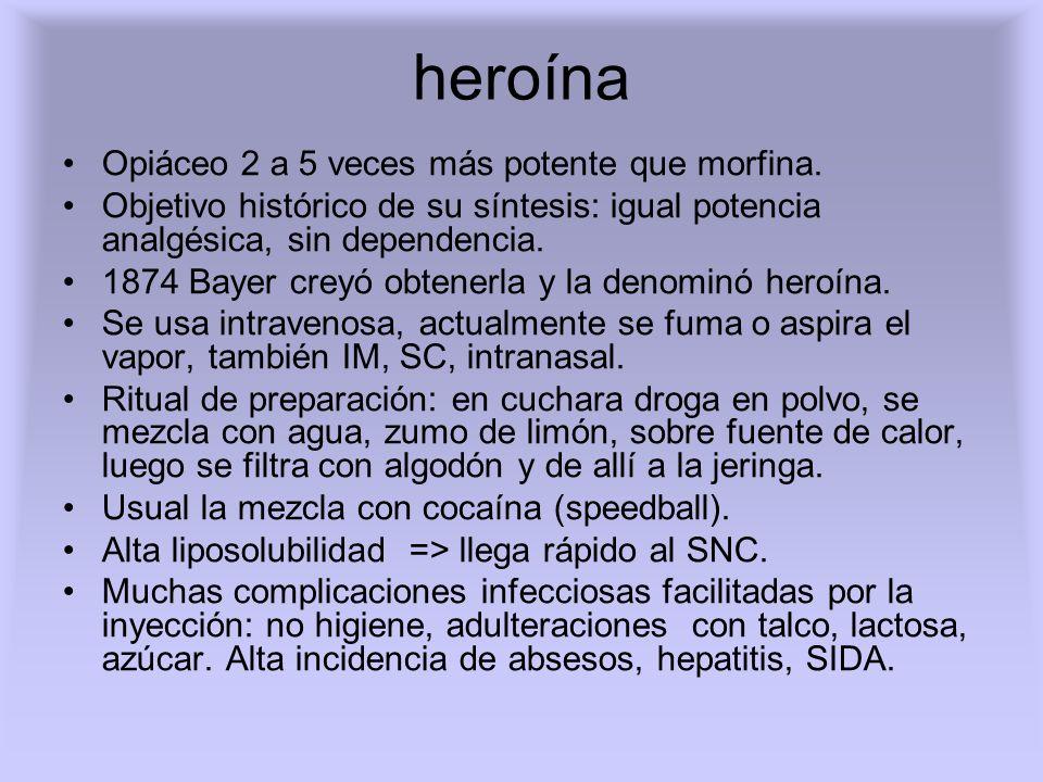 heroína Opiáceo 2 a 5 veces más potente que morfina.
