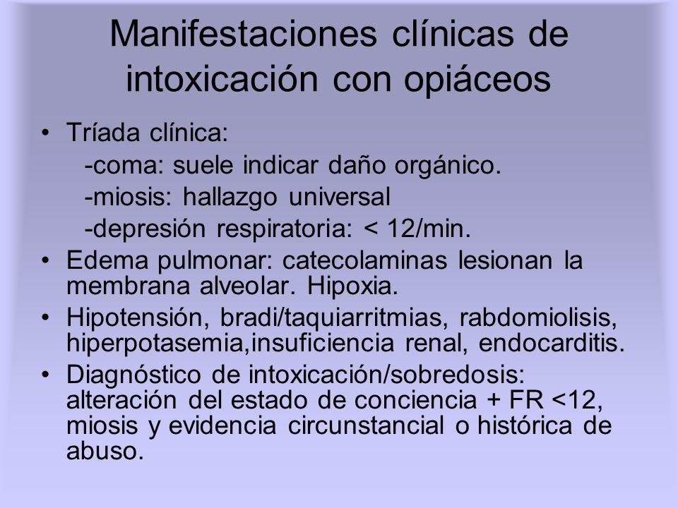 Manifestaciones clínicas de intoxicación con opiáceos